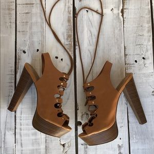 Lace Up Tan Heels